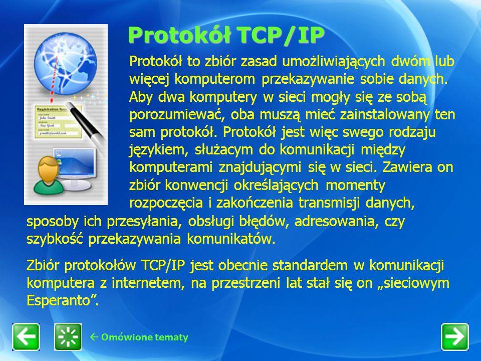 Protokół TCP/IP Omówione tematy Protokół to zbiór zasad umożliwiających dwóm lub więcej komputerom przekazywanie sobie danych. Aby dwa komputery w sie