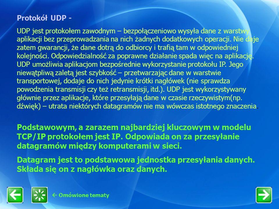Omówione tematy Podstawowym, a zarazem najbardziej kluczowym w modelu TCP/IP protokołem jest IP. Odpowiada on za przesyłanie datagramów między kompute
