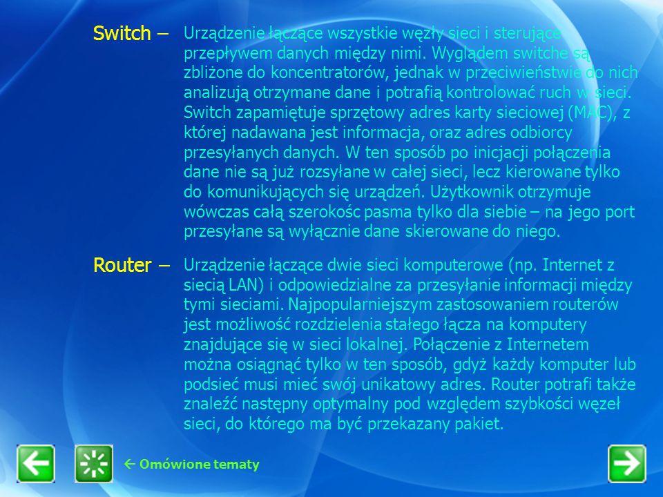 Omówione tematy Switch – Urządzenie łączące wszystkie węzły sieci i sterujące przepływem danych między nimi. Wyglądem switche są zbliżone do koncentra