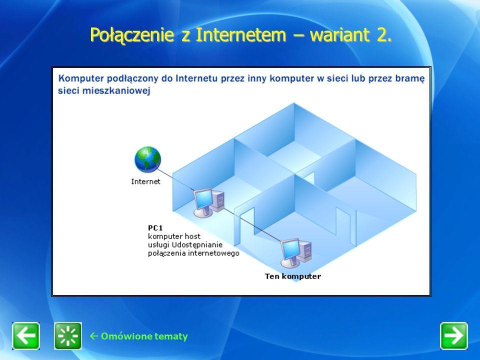 Omówione tematy Połączenie z Internetem – wariant 2.