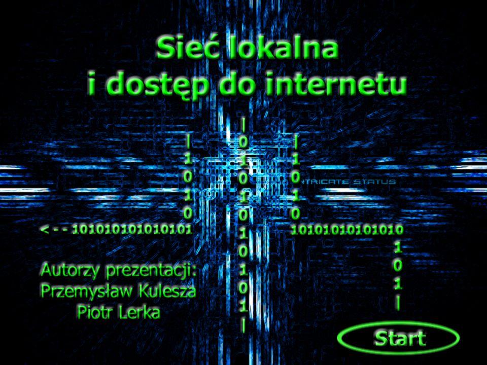 O mówione tematy : Pojęcia podstawowe Rodzaje topologii sieciowych Protokołół TCP/IP Sprzęt sieciowy Połączenie z Internetem Przydatne linki