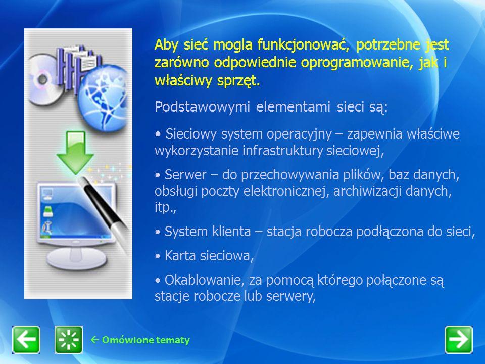 Aby sieć mogla funkcjonować, potrzebne jest zarówno odpowiednie oprogramowanie, jak i właściwy sprzęt. Podstawowymi elementami sieci są: Sieciowy syst
