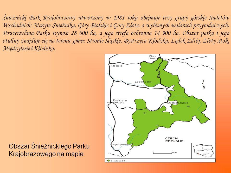 Śnieżnicki Park Krajobrazowy utworzony w 1981 roku obejmuje trzy grupy górskie Sudetów Wschodnich: Masyw Śnieżnika, Góry Bialskie i Góry Złote, o wybi