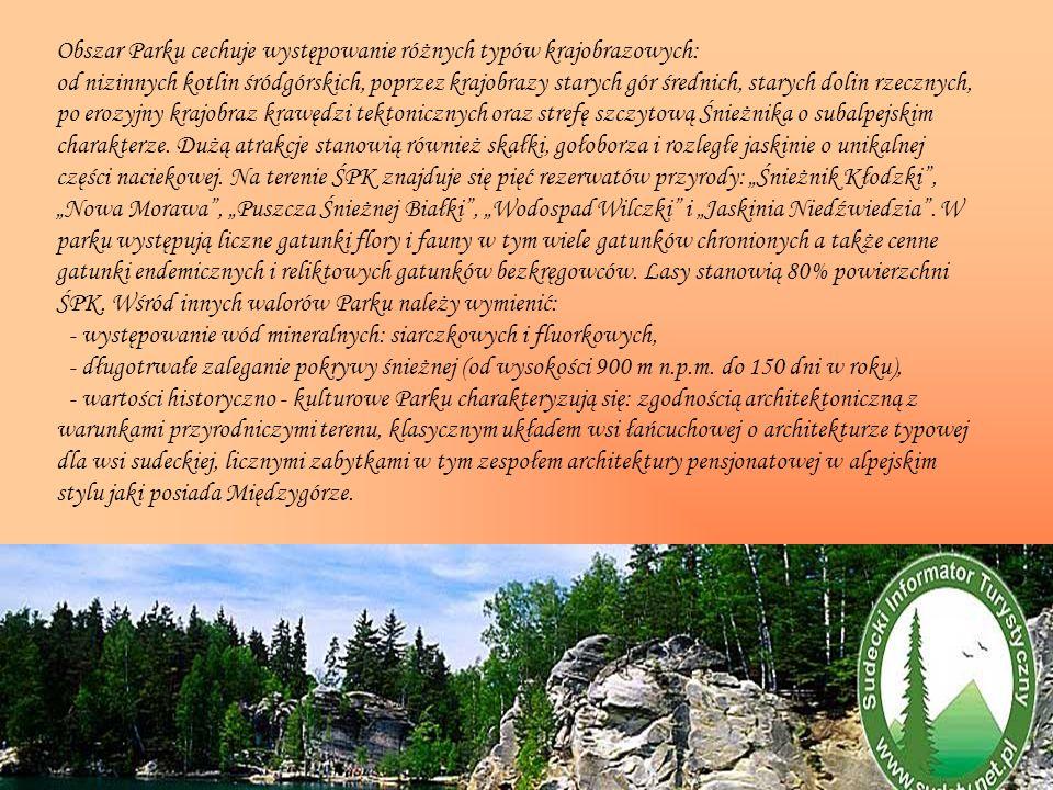 Obszar Parku cechuje występowanie różnych typów krajobrazowych: od nizinnych kotlin śródgórskich, poprzez krajobrazy starych gór średnich, starych dol