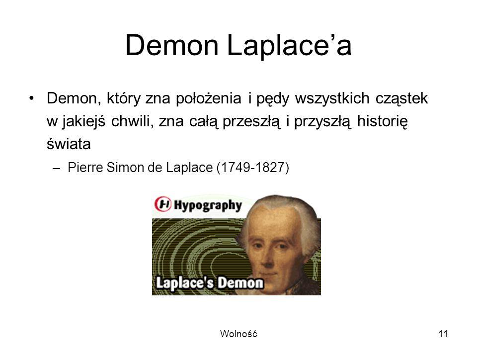 Wolność11 Demon Laplacea Demon, który zna położenia i pędy wszystkich cząstek w jakiejś chwili, zna całą przeszłą i przyszłą historię świata –Pierre S
