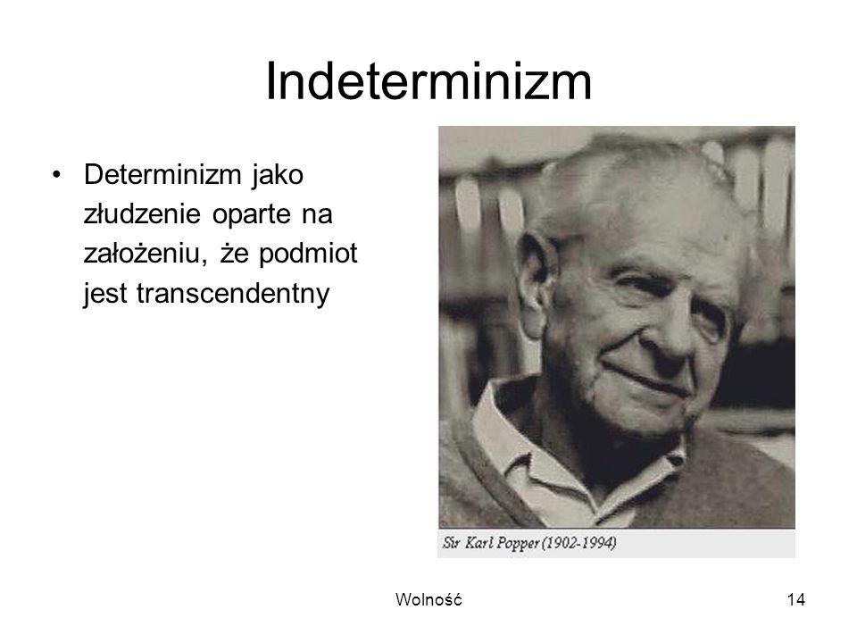 Wolność14 Indeterminizm Determinizm jako złudzenie oparte na założeniu, że podmiot jest transcendentny