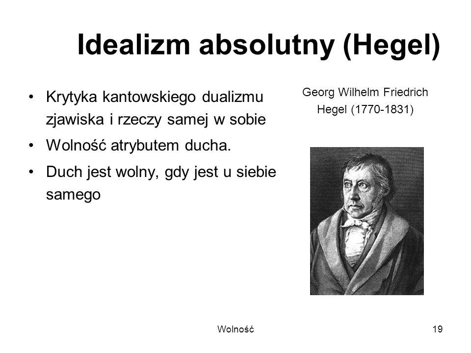 Wolność19 Idealizm absolutny (Hegel) Krytyka kantowskiego dualizmu zjawiska i rzeczy samej w sobie Wolność atrybutem ducha. Duch jest wolny, gdy jest