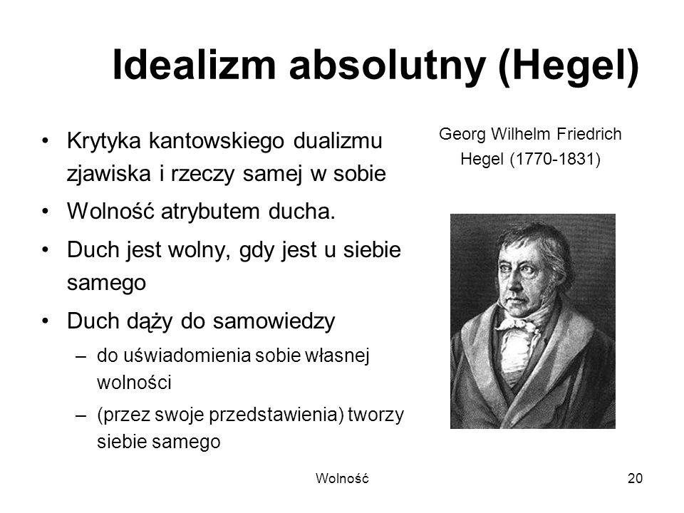Wolność20 Idealizm absolutny (Hegel) Krytyka kantowskiego dualizmu zjawiska i rzeczy samej w sobie Wolność atrybutem ducha. Duch jest wolny, gdy jest