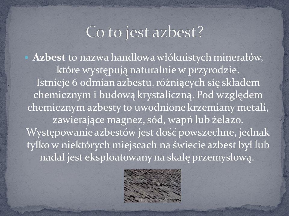 Azbest to nazwa handlowa włóknistych minerałów, które występują naturalnie w przyrodzie. Istnieje 6 odmian azbestu, różniących się składem chemicznym