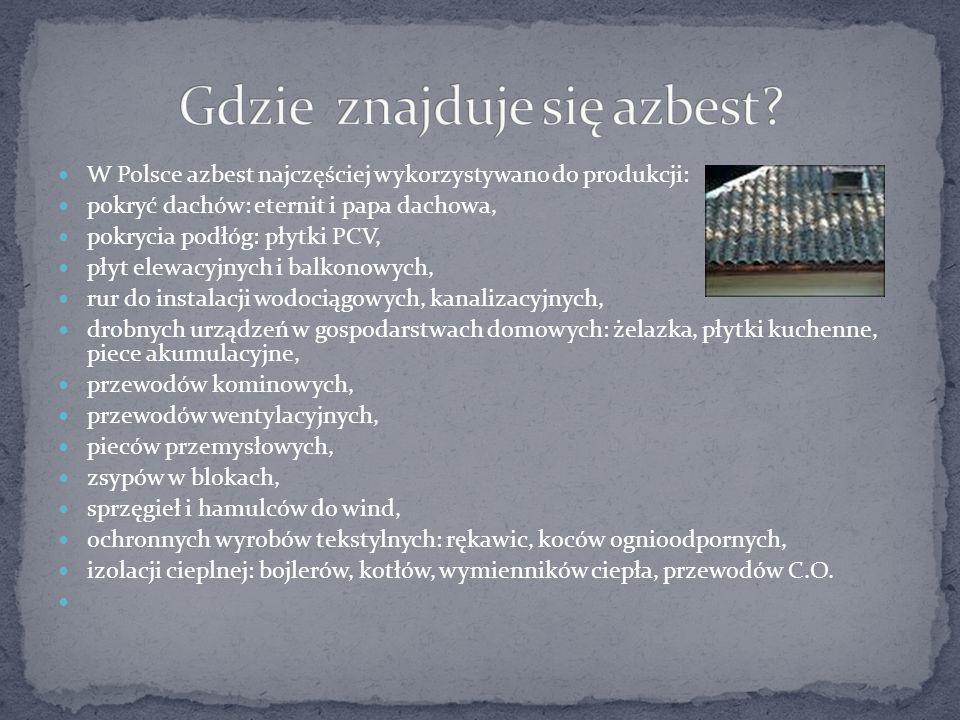 W Polsce azbest najczęściej wykorzystywano do produkcji: pokryć dachów: eternit i papa dachowa, pokrycia podłóg: płytki PCV, płyt elewacyjnych i balko