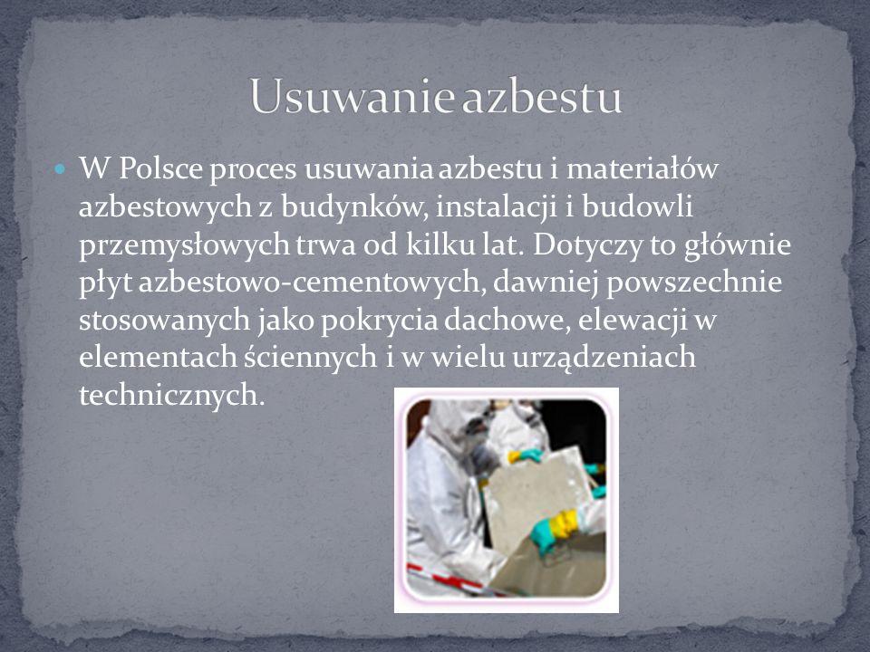 W Polsce proces usuwania azbestu i materiałów azbestowych z budynków, instalacji i budowli przemysłowych trwa od kilku lat. Dotyczy to głównie płyt az