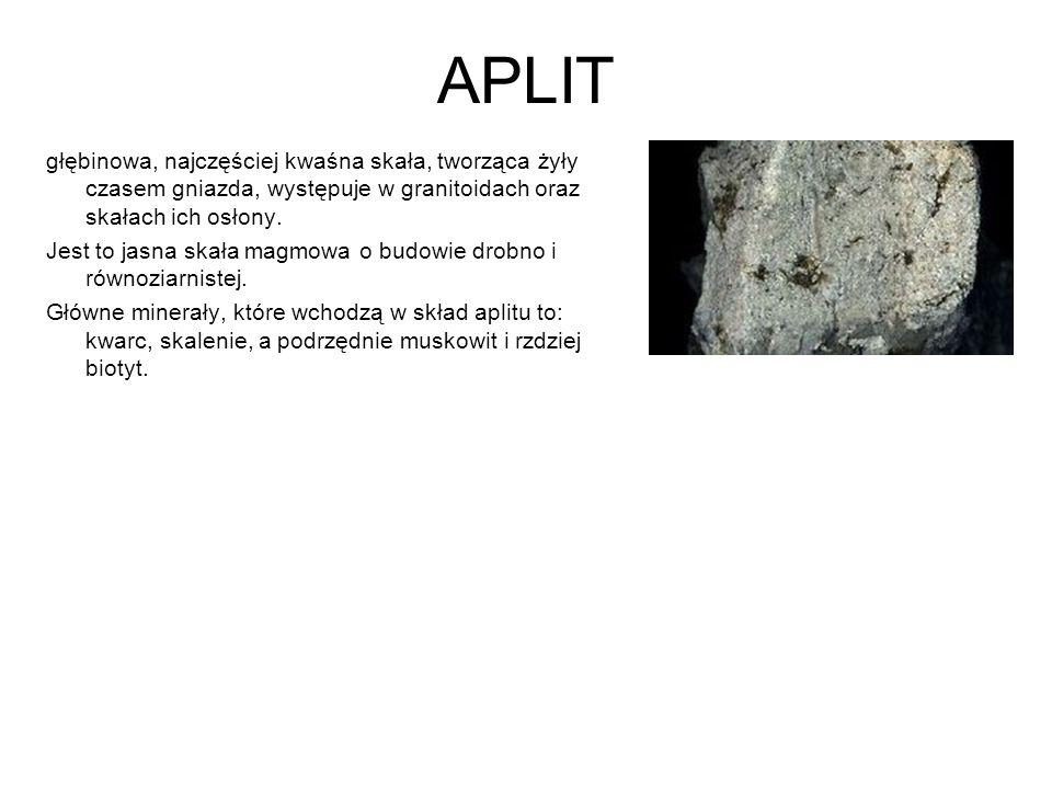 APLIT głębinowa, najczęściej kwaśna skała, tworząca żyły czasem gniazda, występuje w granitoidach oraz skałach ich osłony. Jest to jasna skała magmowa
