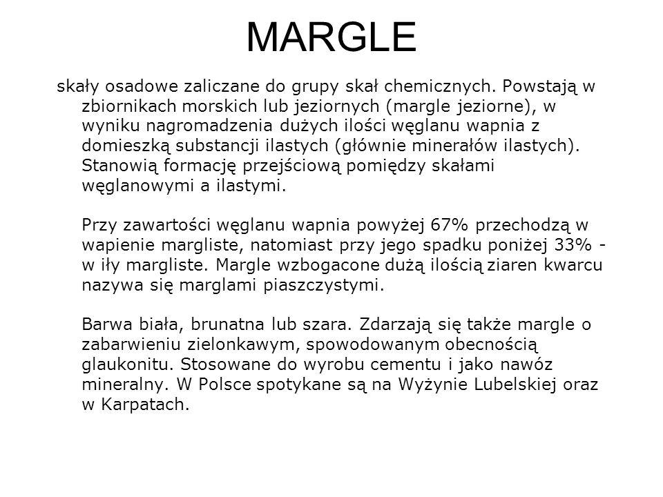 MARGLE skały osadowe zaliczane do grupy skał chemicznych. Powstają w zbiornikach morskich lub jeziornych (margle jeziorne), w wyniku nagromadzenia duż