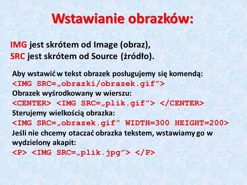 Wstawianie obrazków: IMG jest skrótem od Image (obraz), SRC jest skrótem od Source (żródło). Aby wstawić w tekst obrazek posługujemy się komendą: Obra
