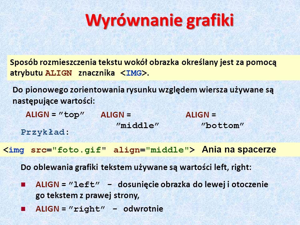 Sposób rozmieszczenia tekstu wokół obrazka określany jest za pomocą atrybutu ALIGN znacznika. ALIGN = top Wyrównanie grafiki Do pionowego zorientowani