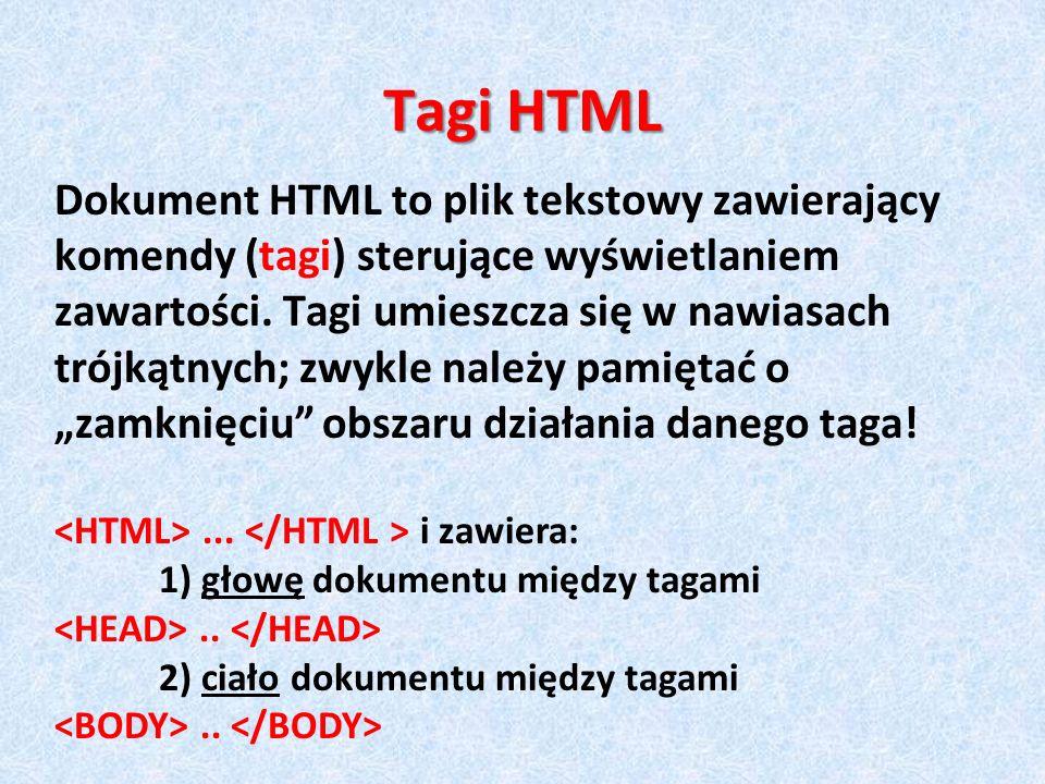 Struktura dokumentu HTML - otwarcie … - tytuł, standard kodowania liter… … - właściwa treść dokumentu - zamknięcie