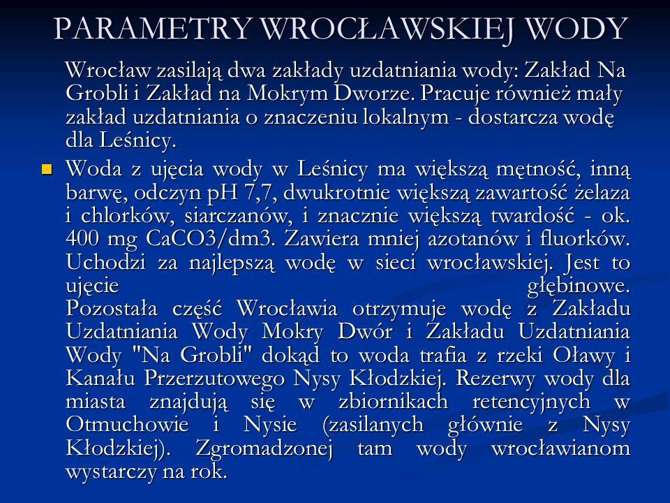 PARAMETRY WROCŁAWSKIEJ WODY Wrocław zasilają dwa zakłady uzdatniania wody: Zakład Na Grobli i Zakład na Mokrym Dworze. Pracuje również mały zakład uzd