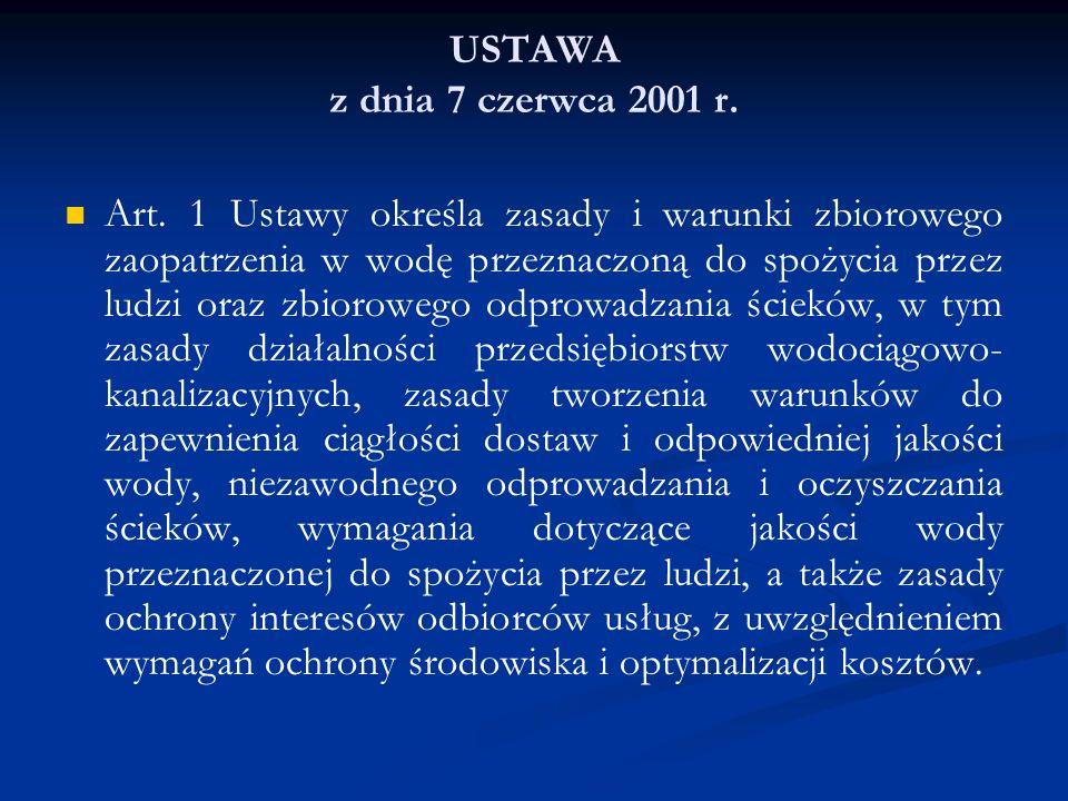 USTAWA z dnia 7 czerwca 2001 r. Art. 1 Ustawy określa zasady i warunki zbiorowego zaopatrzenia w wodę przeznaczoną do spożycia przez ludzi oraz zbioro
