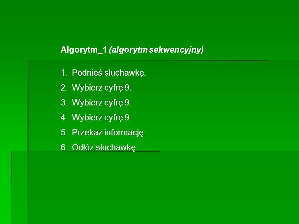 Algorytm_1 (algorytm sekwencyjny) 1.Podnieś słuchawkę. 2.Wybierz cyfrę 9. 3.Wybierz cyfrę 9. 4.Wybierz cyfrę 9. 5.Przekaż informację. 6.Odłóż słuchawk