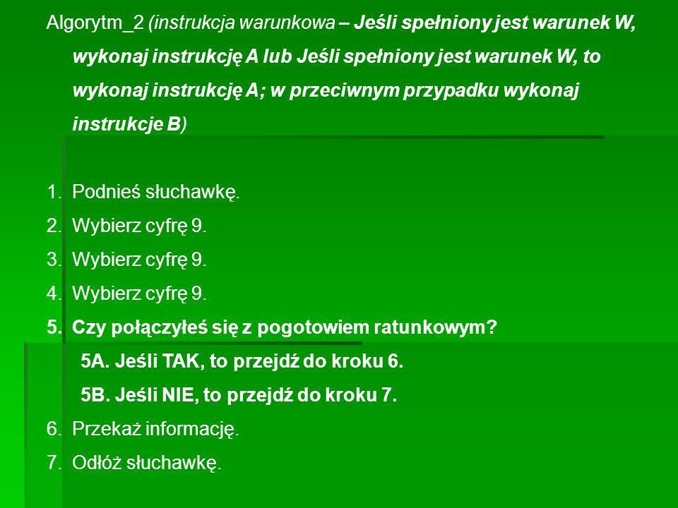 Algorytm_2 (instrukcja warunkowa – Jeśli spełniony jest warunek W, wykonaj instrukcję A lub Jeśli spełniony jest warunek W, to wykonaj instrukcję A; w