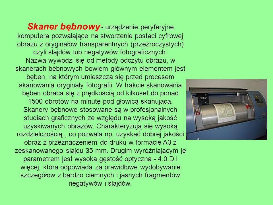 Przykłady skanerów a) skanery ręczne – obsługa polega na przeciąganiu czytnikiem nad wprowadzanym dokumentem.