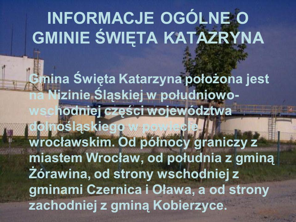 INFORMACJE OGÓLNE O GMINIE ŚWIĘTA KATAZRYNA Gmina Święta Katarzyna położona jest na Nizinie Śląskiej w południowo- wschodniej części województwa dolno