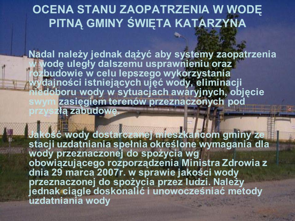 STAN SKANALIZOWANIA GMINY ŚWIĘTA KATARZYNA Sieć kanalizacji sanitarnej na obszarze gminy Święta Katarzyna obejmuje następujące miejscowości: Siechnice, Radwanice, Świętą Katarzynę i Mokry Dwór co stanowi około 50% ogółu mieszkańców gminy.