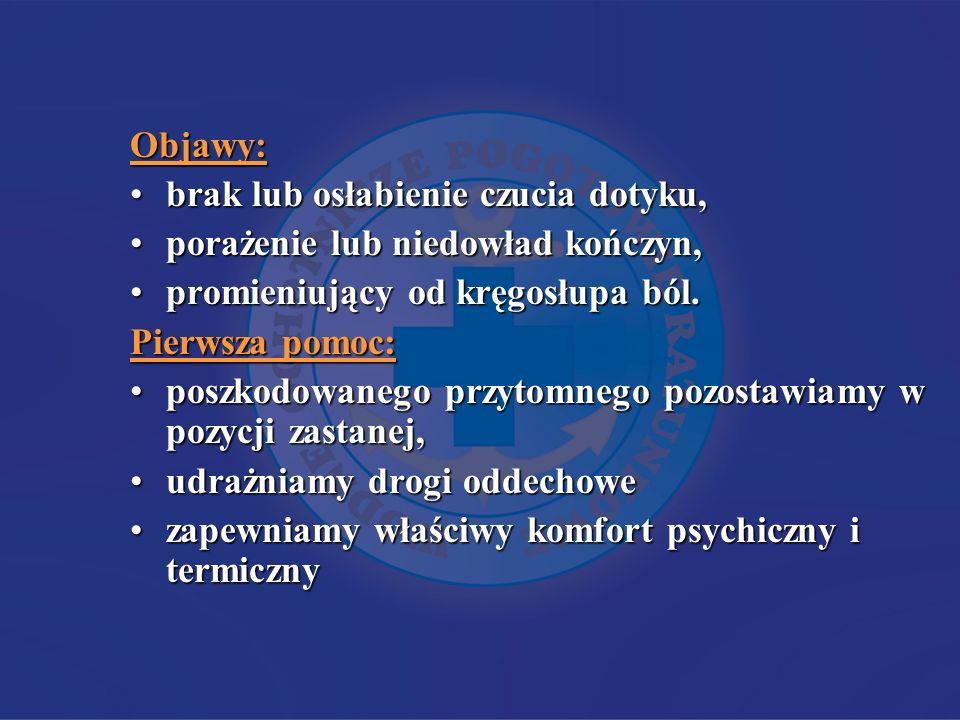 Objawy: brak lub osłabienie czucia dotyku,brak lub osłabienie czucia dotyku, porażenie lub niedowład kończyn,porażenie lub niedowład kończyn, promieniujący od kręgosłupa ból.promieniujący od kręgosłupa ból.