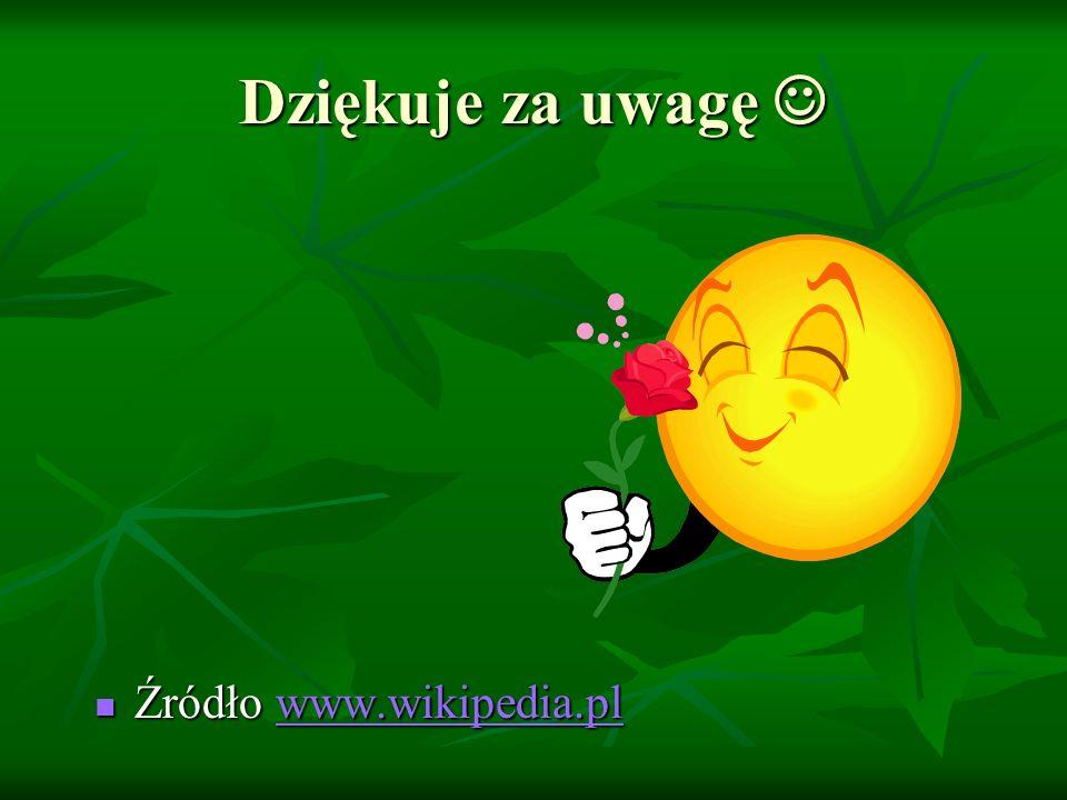 Dziękuje za uwagę Dziękuje za uwagę Źródło www.wikipedia.pl Źródło www.wikipedia.plwww.wikipedia.pl