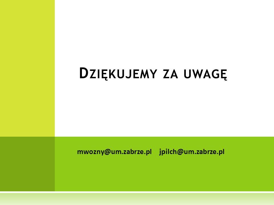 D ZIĘKUJEMY ZA UWAGĘ mwozny@um.zabrze.pljpilch@um.zabrze.pl