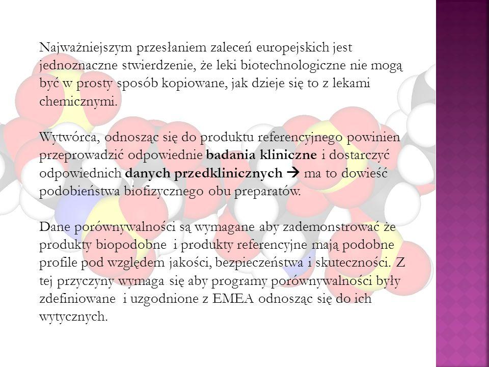 Najważniejszym przesłaniem zaleceń europejskich jest jednoznaczne stwierdzenie, że leki biotechnologiczne nie mogą być w prosty sposób kopiowane, jak
