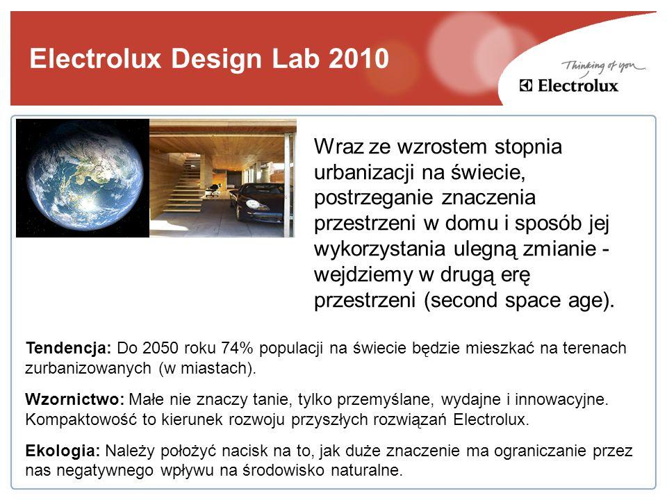 Electrolux Design Lab 2010 Tendencja: Do 2050 roku 74% populacji na świecie będzie mieszkać na terenach zurbanizowanych (w miastach). Wzornictwo: Małe