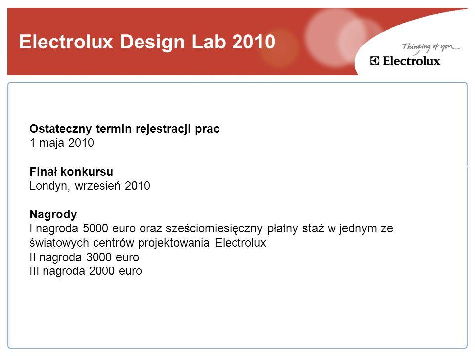 Electrolux Design Lab 2010 Ostateczny termin rejestracji prac 1 maja 2010 Finał konkursu Londyn, wrzesień 2010 Nagrody I nagroda 5000 euro oraz sześci