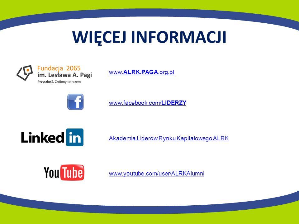 WIĘCEJ INFORMACJI www.youtube.com/user/ALRKAlumni www.facebook.com/LIDERZY www.ALRK.PAGA.org.pl Akademia Liderów Rynku Kapitałowego ALRK