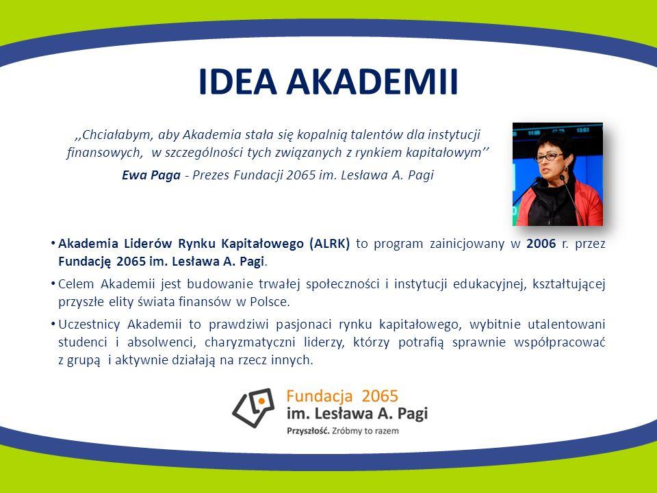 IDEA AKADEMII,,Chciałabym, aby Akademia stała się kopalnią talentów dla instytucji finansowych, w szczególności tych związanych z rynkiem kapitałowym Ewa Paga - Prezes Fundacji 2065 im.