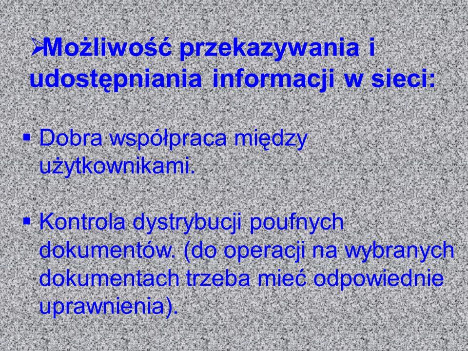 Możliwość przekazywania i udostępniania informacji w sieci: Dobra współpraca między użytkownikami. Kontrola dystrybucji poufnych dokumentów. (do opera