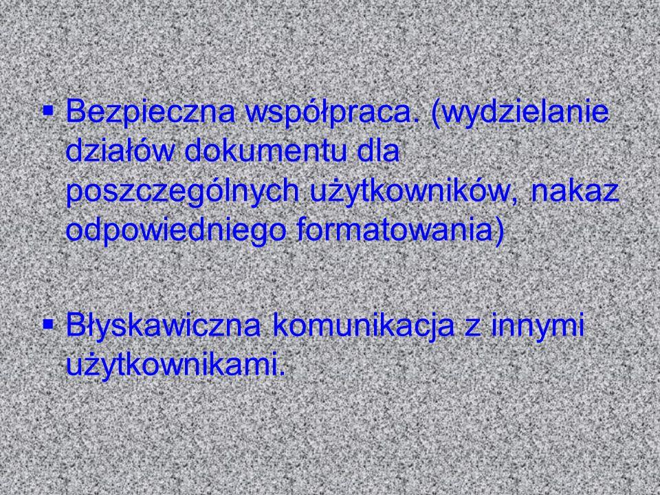 Bezpieczna współpraca. (wydzielanie działów dokumentu dla poszczególnych użytkowników, nakaz odpowiedniego formatowania) Błyskawiczna komunikacja z in