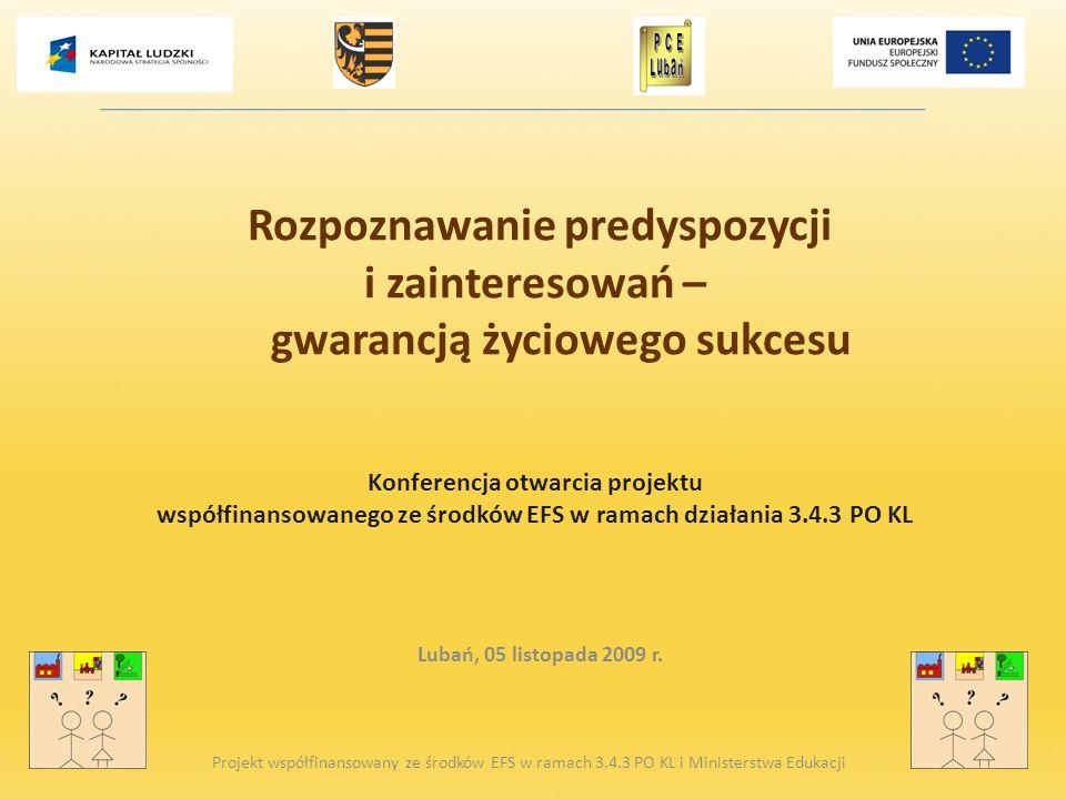 Rozpoznawanie predyspozycji i zainteresowań – gwarancją życiowego sukcesu Konferencja otwarcia projektu współfinansowanego ze środków EFS w ramach dzi