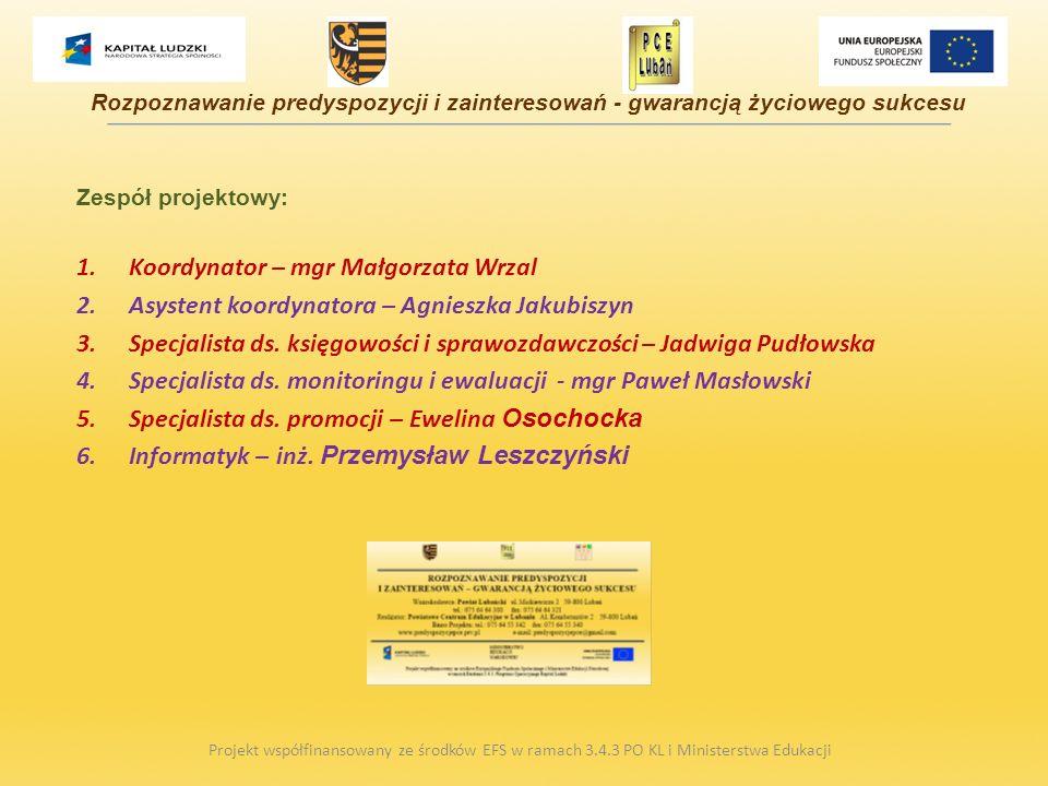 Zespół projektowy: 1.Koordynator – mgr Małgorzata Wrzal 2.Asystent koordynatora – Agnieszka Jakubiszyn 3.Specjalista ds. księgowości i sprawozdawczośc