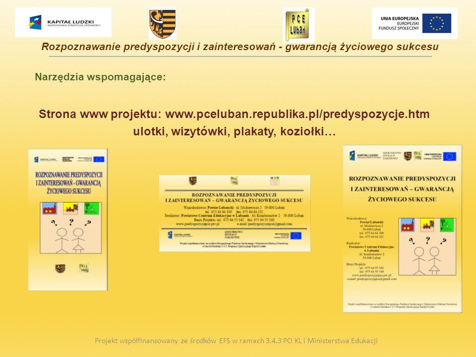Narzędzia wspomagające: Strona www projektu: www.pceluban.republika.pl/predyspozycje.htm ulotki, wizytówki, plakaty, koziołki… Projekt współfinansowan