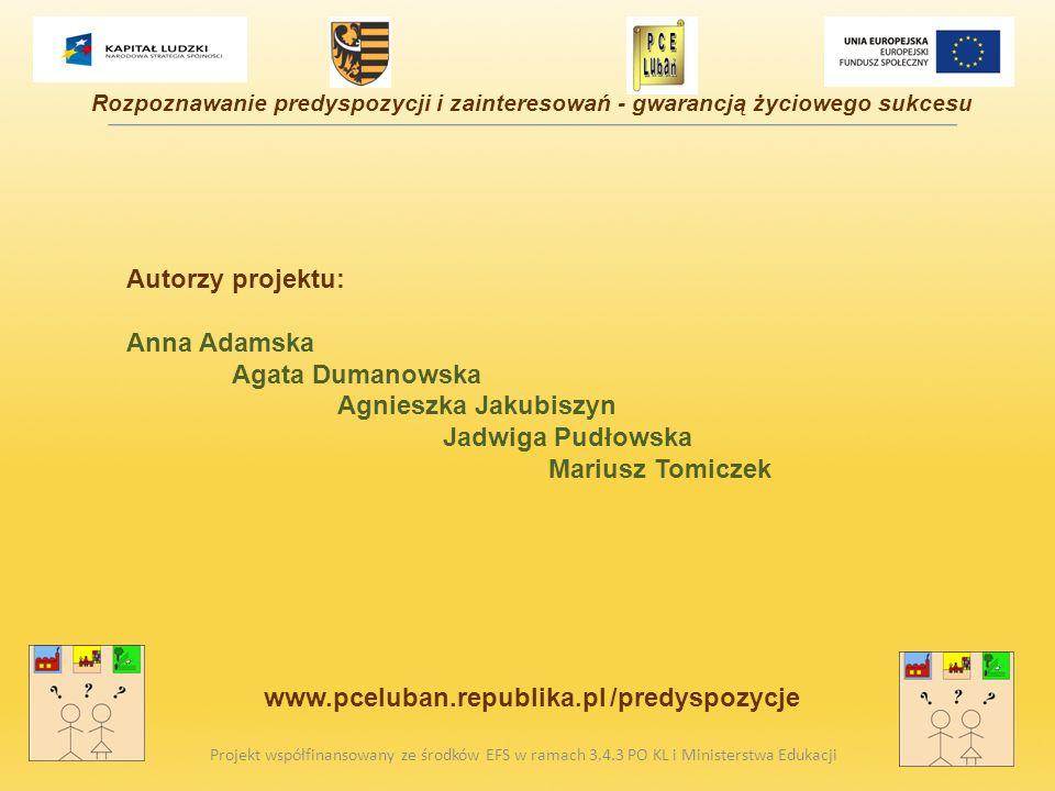 Autorzy projektu: Anna Adamska Agata Dumanowska Agnieszka Jakubiszyn Jadwiga Pudłowska Mariusz Tomiczek Projekt współfinansowany ze środków EFS w rama