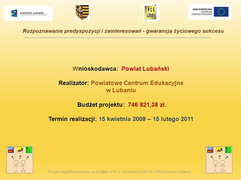 Wnioskodawca: Powiat Lubański Realizator: Powiatowe Centrum Edukacyjne w Lubaniu Budżet projektu: 746 821,38 zł. Termin realizacji: 15 kwietnia 2009 –