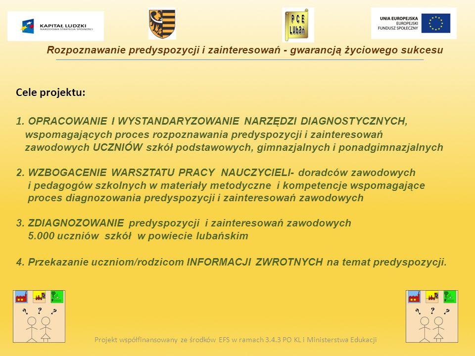Cele projektu: 1. OPRACOWANIE I WYSTANDARYZOWANIE NARZĘDZI DIAGNOSTYCZNYCH, wspomagających proces rozpoznawania predyspozycji i zainteresowań zawodowy