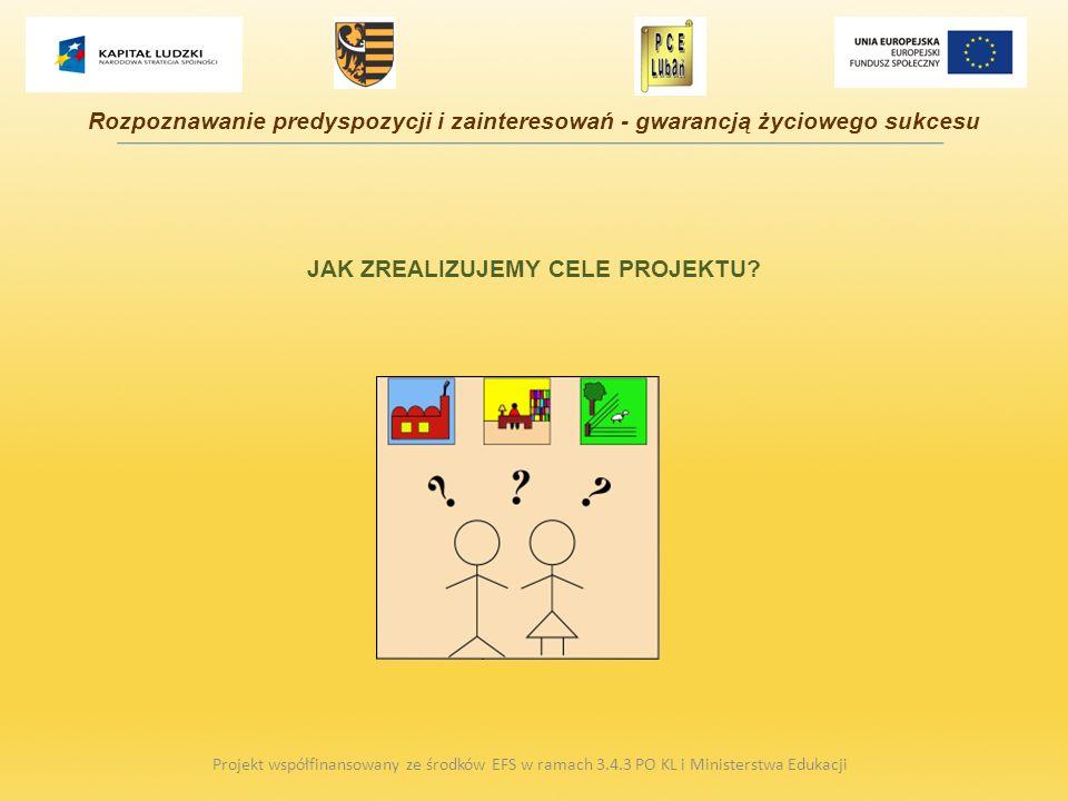 JAK ZREALIZUJEMY CELE PROJEKTU? Projekt współfinansowany ze środków EFS w ramach 3.4.3 PO KL i Ministerstwa Edukacji Rozpoznawanie predyspozycji i zai