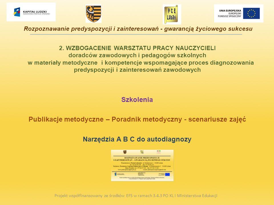 2. WZBOGACENIE WARSZTATU PRACY NAUCZYCIELI doradców zawodowych i pedagogów szkolnych w materiały metodyczne i kompetencje wspomagające proces diagnozo