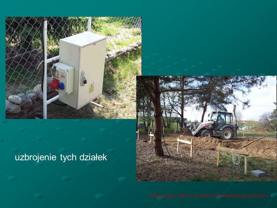 uzbrojenie tych działek Źródło zdjęć: http://www.marcin80.mojabudowa.pl/?sort=u