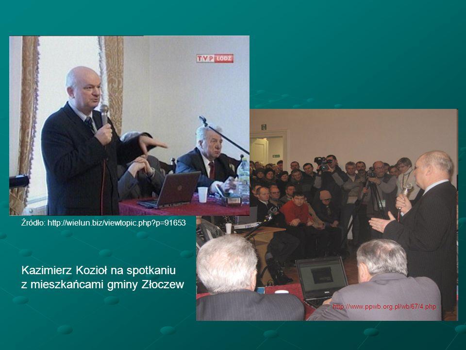 Źródło: http://wielun.biz/viewtopic.php?p=91653 http://www.ppwb.org.pl/wb/67/4.php Kazimierz Kozioł na spotkaniu z mieszkańcami gminy Złoczew