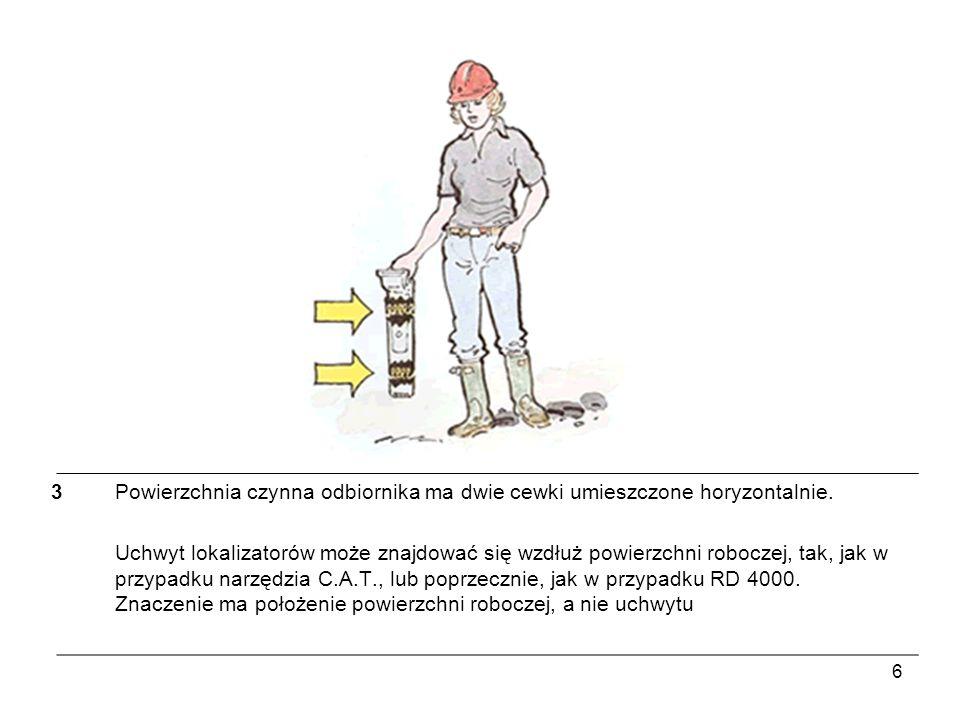 7 4Odbiornik reaguje ekstremalnie, gdy sygnał pochodzący z zakopanego przewodu przechodzi poprzez cewki anten…
