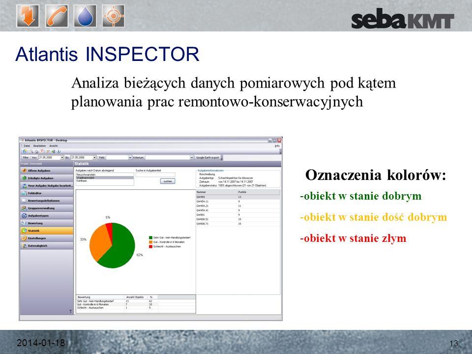 Atlantis INSPECTOR 2014-01-18 13 Analiza bieżących danych pomiarowych pod kątem planowania prac remontowo-konserwacyjnych Oznaczenia kolorów: -obiekt w stanie dobrym -obiekt w stanie dość dobrym -obiekt w stanie złym