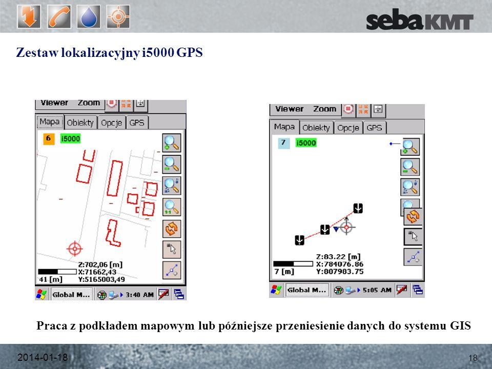 Zestaw lokalizacyjny i5000 GPS 2014-01-18 18 Praca z podkładem mapowym lub późniejsze przeniesienie danych do systemu GIS